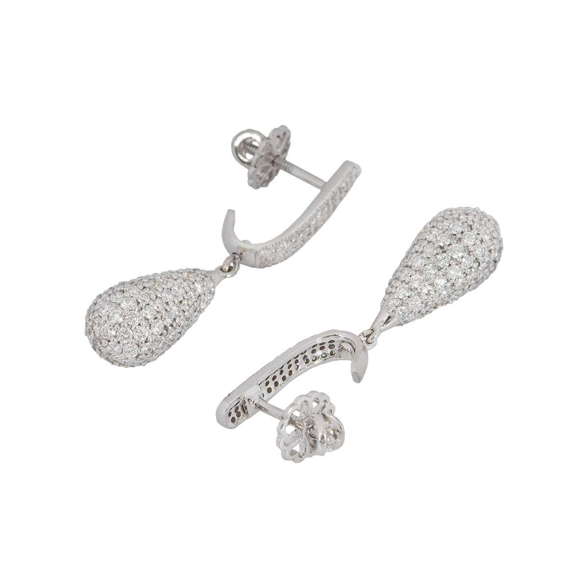 Diamond White Gold Drop Earrings 4.45ct
